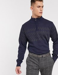 French Connection Textured Diamond Two Tone Crew Neck Jumper Navy
