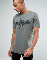 Esprit Slim Fit T Shirt In Oil Wash With Graphic Print Khaki 355 Green