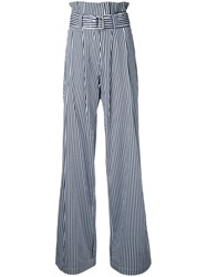 N Duo Striped High Waisted Trousers White
