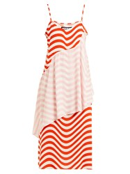 House Of Holland Wave Print Slip Dress Red White
