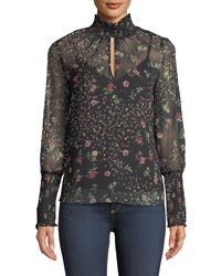 Bailey 44 Misha Floral Print Turtleneck Blouse Black Pattern