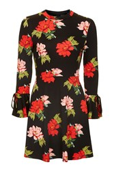 Topshop Tall Red Rose Dress Black