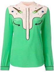 Coach Embellished Rocket Shirt Green