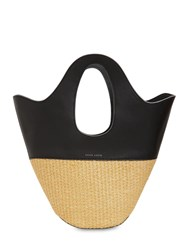 Danse Lente Small Raffia And Leather Bucket Tote Bag Black