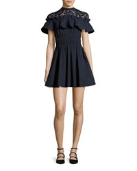 Self Portrait Hudson Lace Yoke Ruffle Mini Dress Navy