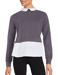 French Connection Collared Knit Top Grey