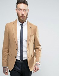 Burton Menswear Slim Tweed Blazer Camel Tan