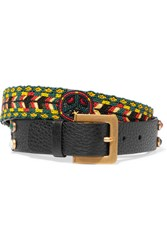 Valentino Beaded Textured Leather Belt Black
