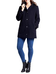 Four Seasons Fur Trimmed Wool Parka Navy