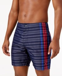 Tommy Hilfiger Men's Stripe And Plaid Board Shorts Peacoat