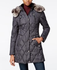Laundry By Design Faux Fur Trim Quilted Puffer Coat Charcoal Melange