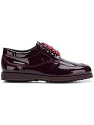 Hogan Satin Laces Oxford Shoes Red