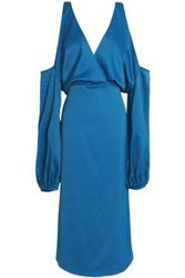Safiyaa Cold Shoulder Crepe Satin Midi Dress Blue