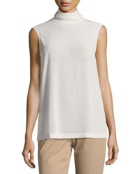 Brunello Cucinelli Matte Silk Turtleneck Top Cream