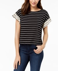Maison Jules Striped Ruffled Sleeve Top Created For Macy's Black White