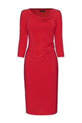 James Lakeland 3 4 Sleeve Side Ruched Dress Red