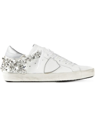 Philippe Model Crystal Embellished Sneakers White