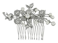 Nina Lagos Crystal Pearl Floral Comb Rhodium Crystal Hair Accessories Silver