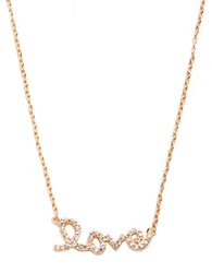 Lord And Taylor Pave Love Script Necklace Rose Gold