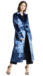 Esteban Cortazar Velvet Drape Tailored Coat Blue