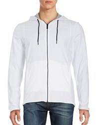Kenneth Cole Reversible Cotton Hoodie White Grey