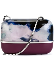 Carven Marbled Box Clutch Red