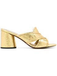 Marc Jacobs Cracked Crossover Mules Metallic