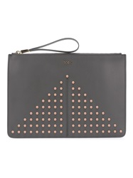 Tod's Studded Clutch Bag Grey