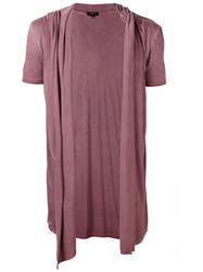 Unconditional Draped Hooded Waistcoat T Shirt Men Rayon Xs Pink Purple