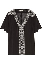 Joie Roman Gathered Embroidered Silk Crepe Top Black