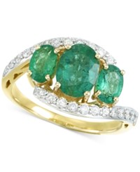 Rare Featuring Gemfields Certified Emerald 1 5 8 Ct. T.W. And Diamond 1 3 Ct. T.W. Ring In 14K Gold
