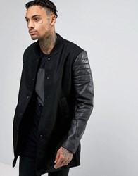 Religion Jacket With Leather Sleeves Black