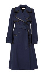 Rebecca Taylor Leather Trim Trench Coat Navy