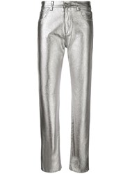 Msgm Metallic Finish Coated Jeans Silver