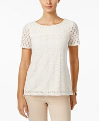 Charter Club Lace Overlay Top Only At Macy's Vintage Cream