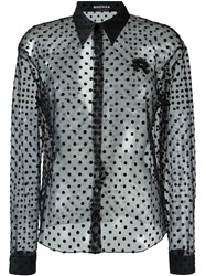 Rochas Sheer Polka Dot Shirt Black