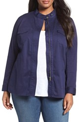 Sejour Plus Size Women's Twill Utility Jacket Navy Peacoat