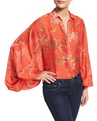 Alexis Nicolette Blooming Batwing Sleeve Blouse Red