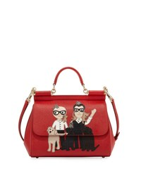 Dolce And Gabbana Sicily Medium Dg Family Patch Bag Red