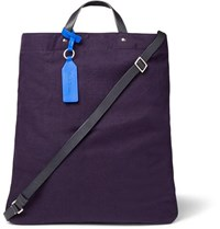 Paul Smith Leather Trimmed Canvas Tote Bag Purple