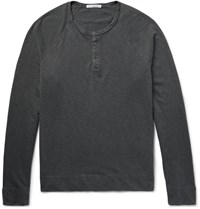 James Perse Loopback Cotton Jersey Henley Sweatshirt Charcoal