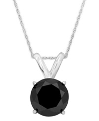 Macy's 14K White Gold Necklace Black Diamond Bezel Pendant 1 Ct. T.W.