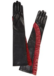 Agnelle Long Black Ruffled Leather Gloves Black And Red