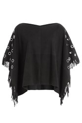 True Religion Fringed Suede Cape With Eyelets Black