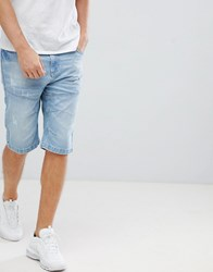 Crosshatch Light Wash Denim Shorts Light Wash Blue