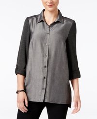 G.H. Bass And Co. Mixed Media Button Front Shirt