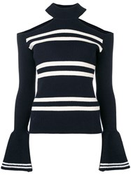 Self Portrait Cut Out Shoulder Sweater Blue