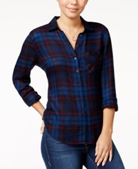 Polly And Esther Juniors' Herringbone Plaid Shirt Blue Red