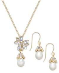 Charter Club Gold Tone Imitation Pearl And Crystal Pendant Necklace And Matching Drop Earrings Set Only At Macy's