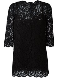 Dolce And Gabbana Floral Lace Mini Dress Black